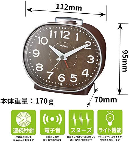 ノア精密 ノア精密 ノア精密 T-739-BR-Z ブラウン MAG 目覚まし時計(ホリー)