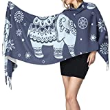 Elefante étnico indio Chal de abrigo geométrico Bufandas para mujer Chal de abrigo ligero Bufanda 77'x27 / 196x68 cm Pashmina suave grande extra cálido