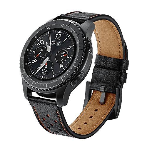 SUNDAREE Compatibile con Cinturino Galaxy Watch 46mm/Gear S3,Cinturini di Ricambio Pelle Band Orologio Sostituzione Cinghia di Polso per Samsung Galaxy Watch 46/Gear S3 Classic/Frontier(S3 Black ZW)