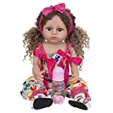 YIHANGG 55 Cm 22 Pulgadas Cuerpo De Vinilo De Silicona Completo Bebés Reborn Muñecas Niño Hermoso Rizos Niña para Niños Compañeros De Juego Juguetes Muñeca Regalos
