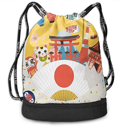 Bolso con cordón Linterna Patrón Comercial de inspiración Japonesa Varios artículos de la Cultura asiática Cool Cat Origami Theme Bolsa de Gimnasio Saco de Gimnasio