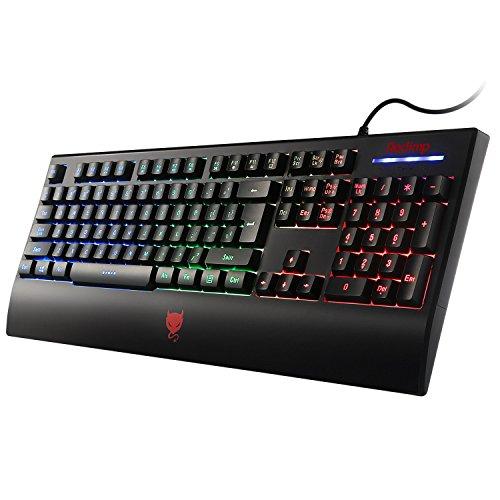Redimp LED Backlit Gaming Keyboard, Waterproof Ergonomic USB Wired PC iMac Mac Computer Game Keyboard with Wrist Rest