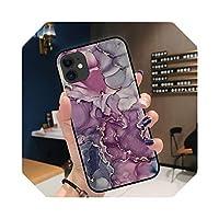 For iPhone 12 ProMaxケース用GradientOcean Marble Phone Case For iPhone 12 11 Pro Max XR XS Max 7 8 6 Plus X SoftTPUカバーコック用-Black-A4048-For 6Plus 6sPlus