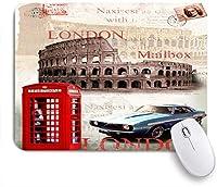 ECOMAOMI 可愛いマウスパッド 黒と白と赤い車の建物の額縁モダン 滑り止めゴムバッキングマウスパッドノートブックコンピュータマウスマット