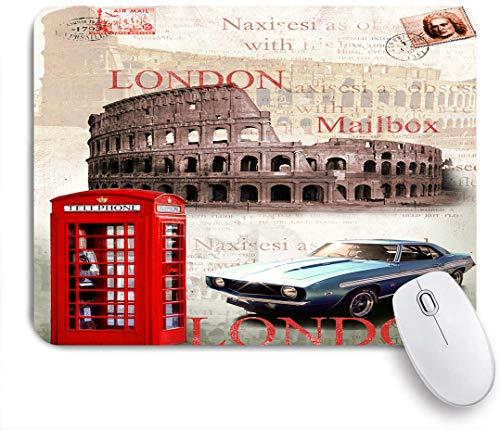 Dekoratives Gaming-Mauspad,Schwarz und Weiß mit roten Autos Gebäude Picture Framed Modern,Bürocomputer-Mausmatte mit rutschfester Gummibasis