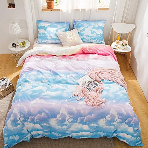 LemonTree Rainbow Beddings Girls Sky Colourful Clouds Cozy Comforter Cover,4Pcs-1 Flat Sheet+1 Duvet Cover+2 Pillowcases No Fillings