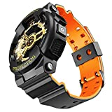 NotoCity for Casio Band Replacement Watch Strap for Mens G-Shock GD120/GA-100/GA-110/GA-100C(Black-Orange)