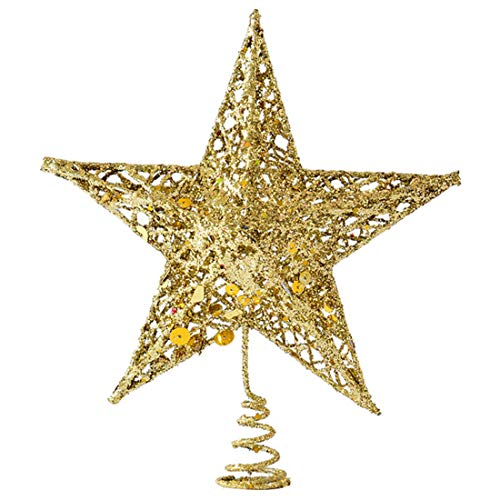Tree top Stars Christmas Golden Glitter Topper 5 Point Star Treetop Golden Practical Design and Durable