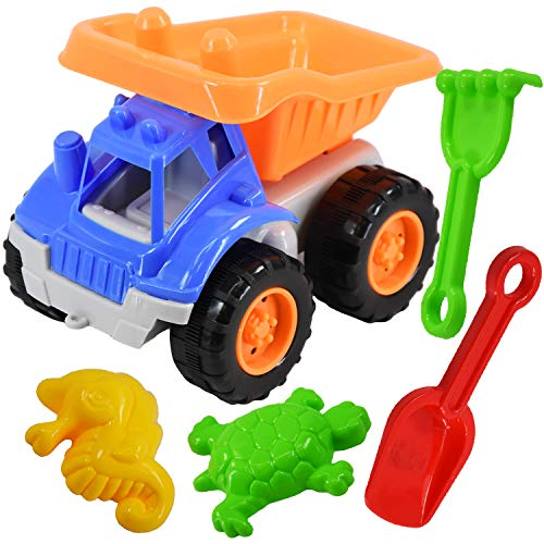 5 Piece Sand Truck & Accessories Fork Spade Beach Garden Toy Kids Play S