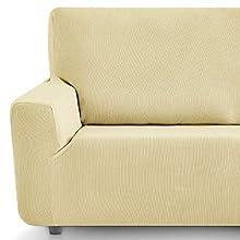Eiffel Textile Funda Sofa Elastica Protector Adaptable Rústica Sofá, Beige, 3 Plazas (180-240 cm)