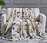 DaDa Bedding Soft Faux Mink Fleece Flannel Throw Blanket - Fresh Sunshine Botanical Gold Yellow Fleur Tulips Fall Vibes - Bright Vibrant Elegant Floral Grey/Silver Background - 50' x 60'