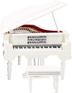 Miniature Piano, Wood Miniature Piano Model Musical Instrument Piano Display Model Display Mini Ornaments Craft Home Decor(White14cm with Music)