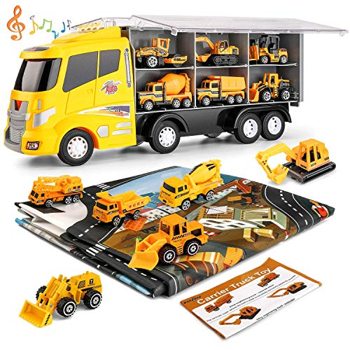 NONZERS Car Carrier Truck Toy, Construction Truck Toys, 12 Mini Die-cast Cars Sets with 51.2x39.4 inch Play Mat, Early Educational Toys Gift Mini Engineering Trucks Set for Kids Boys Girls Age 3+