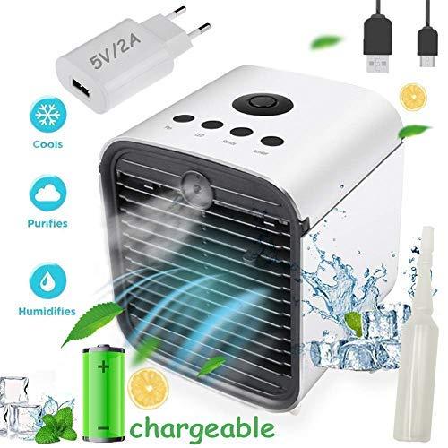 Air Cooler Portable Condizionatore Portatile - 3 in 1 Mini Raffrescatore D'aria Evaporativo Umidificatore Purificatore, USB Cooler, Leakproof & New Filter (Nuovo-Rechargeable + Adattatore)