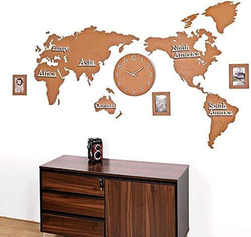 LBYLYH De Pie Moderna Relojes Mundo Decoración Relojes De Pared Mapa Estancia En Casa Diseño De Las Flores Reloj De Pared Digital, Reloj De Pared De La Oficina De Silencio