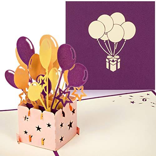 PaperCrush® Pop-Up 3D Geburtstagskarte (Lila) - Perfekt als Geldgeschenk, Geldgeschenkkarte, Pop Up Karte zum Geburtstag - Handgemachte 3D Karte inkl. Umschlag
