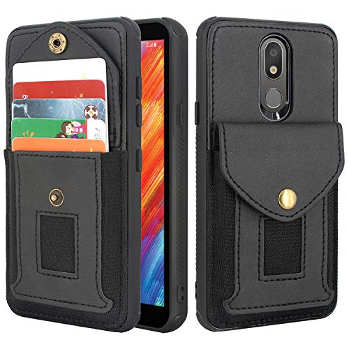 Lacass Shockproof Wallet Case Protective Cover with Elastic Pocket Credit Card Slot Holder for LG Aristo 4+ Plus,Arena 2,Tribute Royal,Journey LTE,Escape Plus,K30 2019 .Neon Plus (Black)
