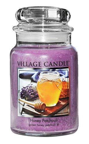 Village Candle 106326843 Honey Patchouli Pot de Verre, Violet, 9,7 x 9,5 x 11,9 cm