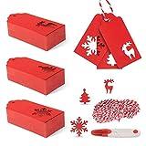 JIPRENS 3 Styles Geschenkanhänger Weihnachten Kraftpapier Etiketten Anhänger 200 Stück Geschenk...