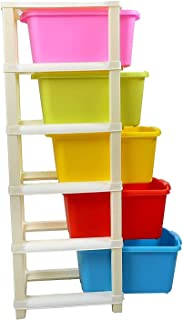 KESHAV 5 Layer Foldable Modular Drawer Organizer Multipurpose Drawers Boxes Storage Rack, Extra Large Basket, Plastic (Mul...