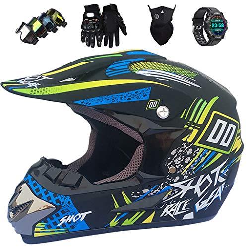 KIVEM Casco de Moto Niños, Cascos de Motocross Unisex Set con Reloj Inteligente Máscara Guante y Gafas, Casco de Motocicleta Todoterreno Quad Bike para Jóvenes y Adultos,Small