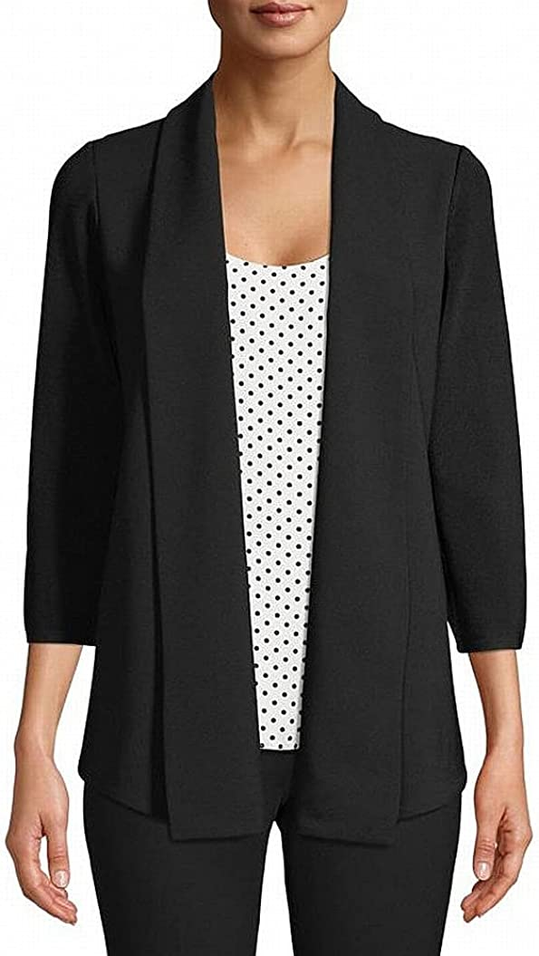 Anne Klein Women's Woven Back Rare Free shipping New Knit Cardigan Front