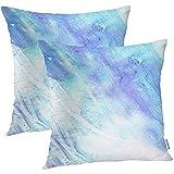 JESSA 2PCS 18'X18' Vintage Kissenbezüge, blaues künstlerisches abstraktes Aquarell ist geschaffenes andbyDouble versah quadratische Kissenbezüge-Kissenbezug-Sofakissen mit Seiten