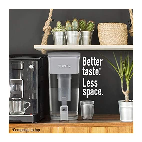 """Brita Standard UltraMax Water Filter Dispenser, Gray, Extra Large 18 Cup, 1 Count 2 The BPA-free UltraMax water dispenser holds 18 cups of water, enough to fill 6 24-ounce reusable water bottles Get great tasting water without the waste; by switching to Brita, you can save money and replace 1,800 single-use plastic water bottles a year This space efficient filtered water dispenser fits perfectly on refrigerator shelves, features an easy locking lid and precision pour spigot; Height 10.47""""; Width 5.67""""; Length/Depth 14.37""""; Weight 3 pounds"""