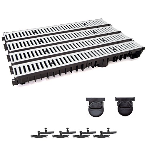 4m Entwässerungsrinne mit Dichtung Tiefe: 100 mm. Belastungsklasse A15. Stahlrost verzink.