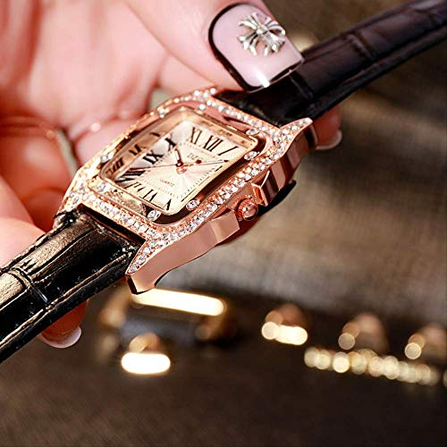 WLKVUOT vrouwen kwartshorloge eenvoudig vierkant diamond decor horloge