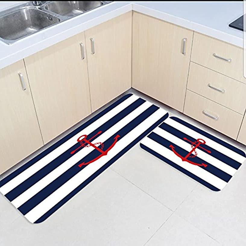 HomeCreator Non Slip 2pc Kitchen Area Rugs Striped Anchor Absorbent Antibacterial Indoor Door Mats Set for Kitchen Dining Living Rug Runner 19.7