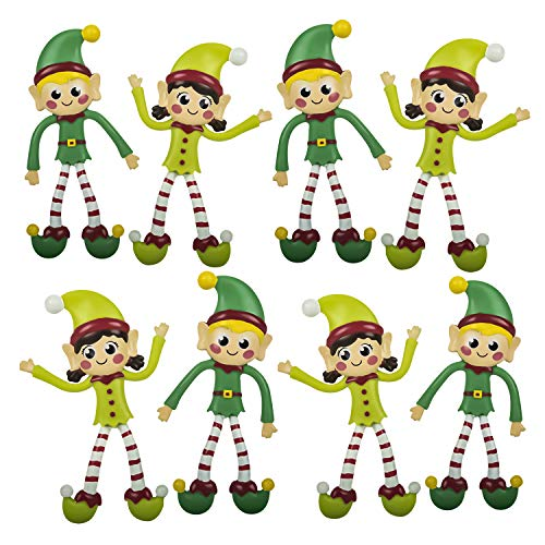 Vlish 12 Christmas Bendable Elf Toys - Pack of 12, Bendy Elves Character, Stocking Stuffer, Goody Bag Treat Favors | Gift for Kids, Children, Boy, Girl | Birthday Party Supplies | 4.5""
