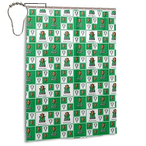 Marshall Mu University Shower Curtain Set with Hooks, Decorative Waterproof 55x72 Inch Bathroom Curtains Iron