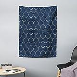 ABAKUHAUS Geometrisch Wandteppich & Tagesdecke, Gitter-Muster, aus Weiches Mikrofaser Stoff Dreck abweichender Digitaldruck, 110 x 150 cm, Dark Blue Creme