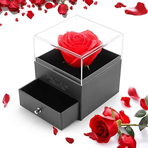 ASANMU Rosa Eterna Artificial, Rosa Eterna Caja de Joyería Bella y la Bestia Rosa Caja de Joyería de San Valentín Regalos Romántico para Esposa/Novia/Día de San Valentín/Bodas/Cumpleaños/Madre