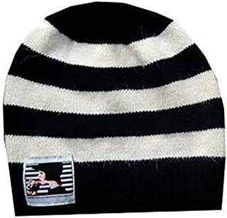 Black and Cream Striped Lady Winter Hat - One Size