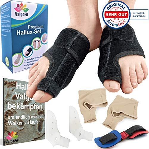 ValgoFit® Hallux Valgus Korrektur Set - DERMATEST: SEHR GUT - mit Korrektur Schiene - Bunion-Socken - Zehenspreizer Silikon - Zehentrenner - Fußkorrektur