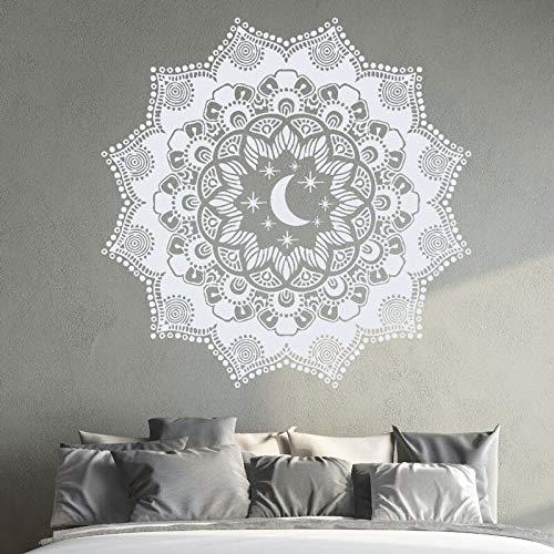 Calcomanía de pared Mandala pegatina de pared Luna y estrellas Mural de pared decoración del dormitorio del hogar puerta ventana Yoga pegatinas A5 57x57cm