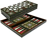 Chessgammon LARGE BACKGAMMON SET FOLDABLE WOODEN BOARD GAME-QUALITY AND HEAVEY (Mother Of Pearl - 17')