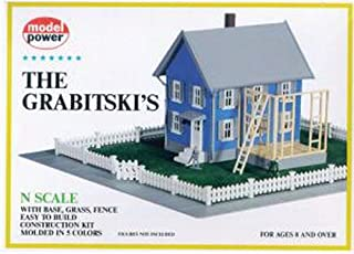 Model Power N Scale Model Raillroading Plastic Contruction Kit - # 1554 - The Grabitski's with Base, Grass and Fence