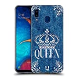 Head Case Designs Queen Printed Denim Embroidery Soft Gel Case Compatible with Samsung Galaxy A20 / A30 2019