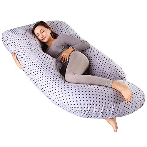 ARNTY Cojin Embarazada Dormir,Almohada Embarazada Dormir Multifuncional en Forma de u,Almohada de Cuerpo para Soporte para Hombros, Caderas, Piernas, Vientre (Gris Estrellas)