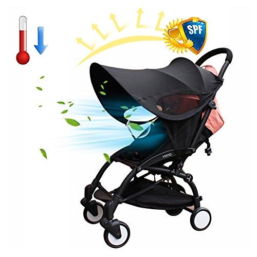 Waroomss Universel Canopy bébé poussette parasol couverture respirant lumière-preuve UPF 50+ UV protection poussette couverture pour bébé poussettes (noir)