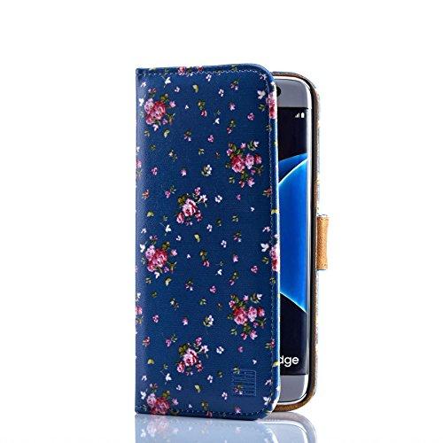 32nd Bloemen Serie - Ontwerp PU Lederen Book Portemonnee Hoesje Cover voor Samsung Galaxy S7 Edge, Designer Bloempatroon Portemonnee Stijl Flip Hoesje met Kaartsleuven - Wijnoogst Roos Indigo