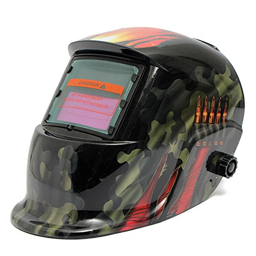 Auto Darkening Solar Welding Helmet with Adjustable Shade Range 4/9-13 for Mig Tig Arc Welder Mask Shield New Design (Bullet Camouflag)