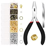 1500 Pieces Jump Rings with Lobster Clasps and Jewelry Pliers for Jewelry Making Supplies Findings and Necklace Earring Repair (Mix)