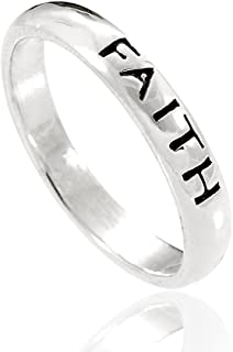 925 Sterling Silver Faith Spiritual Inspiration Stackable Narrow Ring - Nickel Free