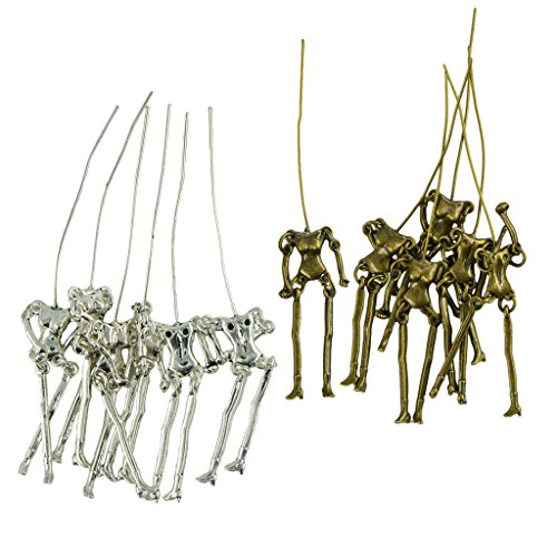 chiwanji Halloween 90mm Human Skeleton Scary Body DIY Dolls Pendant Jewelry 12Pieces
