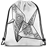 BOUIA Sac à Dos à Cordon Sacs Sport Gym Cinch Bag, Style Origami Crane Bird Design Monochrome dessiné à la Main Extrême-Orient Asie Folklore Motif