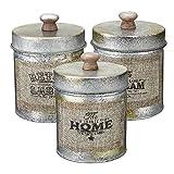 RENCALO La Tapa 3PCS lamentable Metal de la Vendimia de Almacenamiento del Tanque de Cocina de Dulces Frutos Secos Botellas Crafts Jar